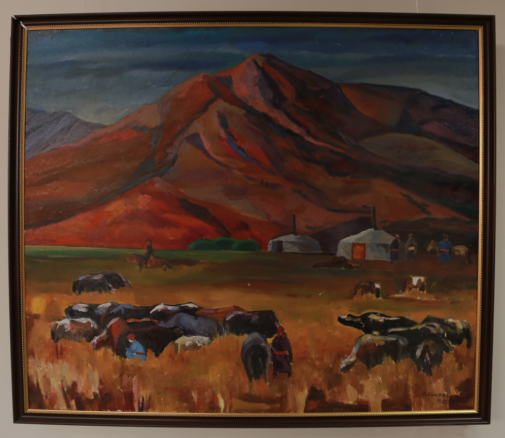 Кикеев О.Х. «У подножия Хархираа» 1981 г. Холст, масло.