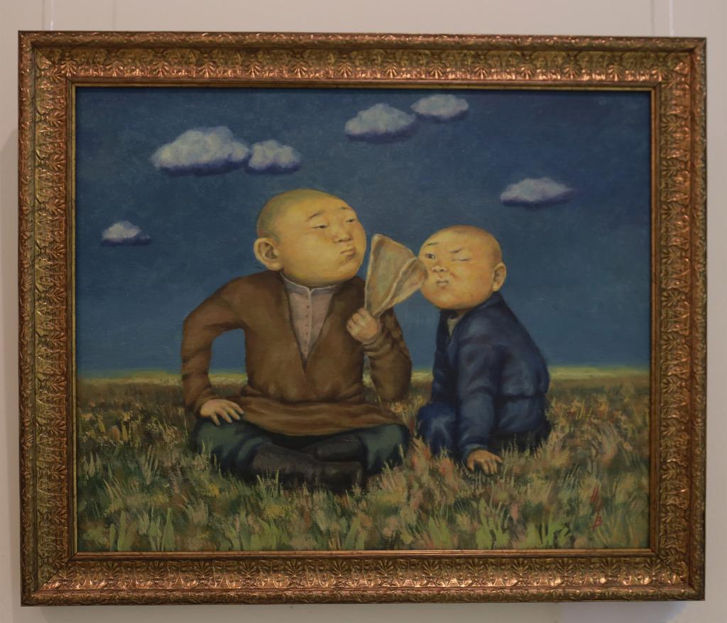 Надбитова И. «Гаданье на бараньей лопатке» 2014 г. Картон, масло.